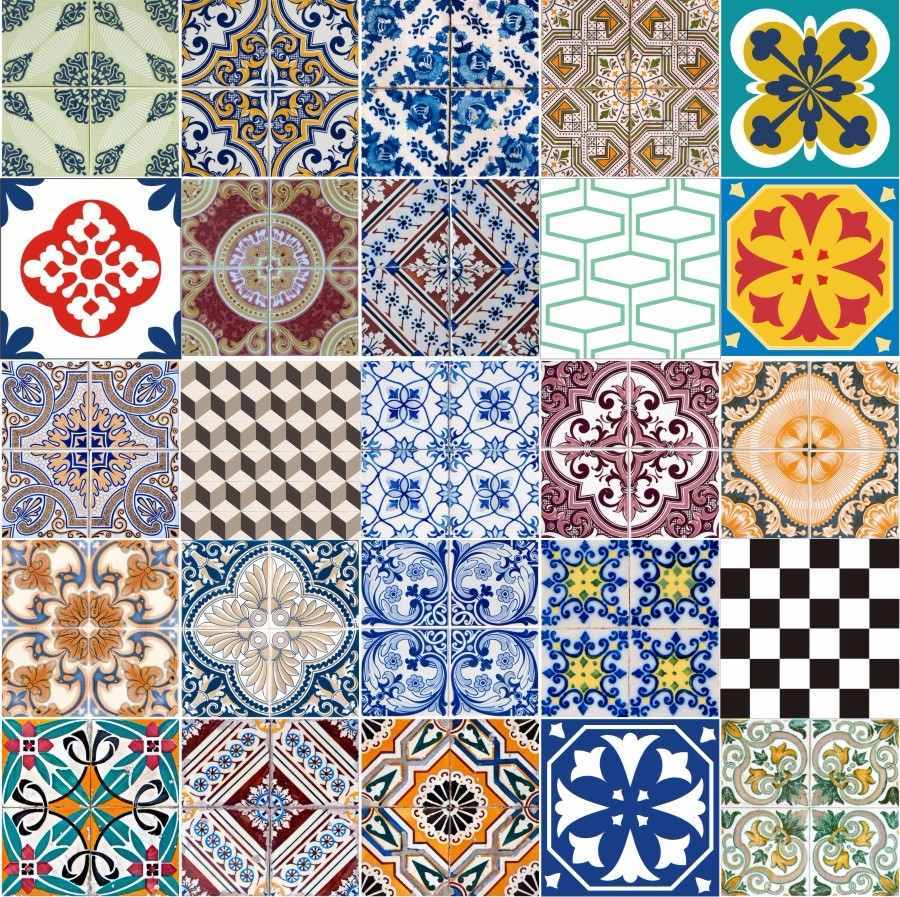 Adesivo azulejo portugu s ladrilho hidr ulico 15x15 ou for Azulejo 15x15
