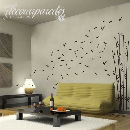 Adesivo bambu ao vento decorar paredes florais grande r for Decorar paredes grandes