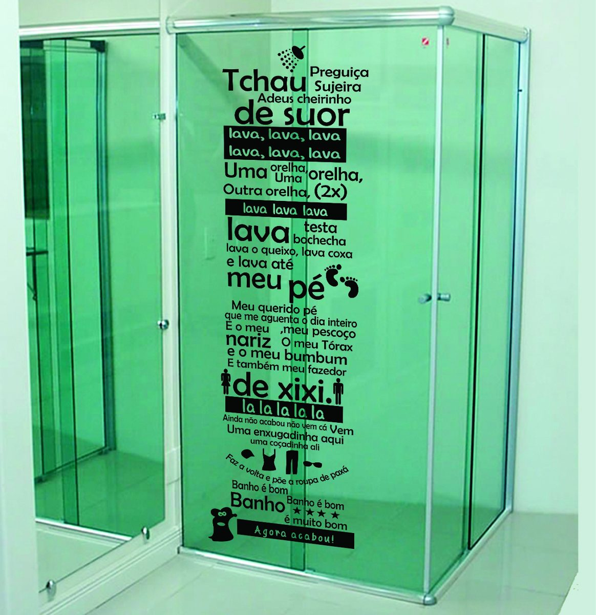 Adesivo Banheiro Porta Box Música Ratinho Castelo Ratimbum R$ 42 99  #19AD52 1164x1200 Adesivos Para Box De Vidro Banheiro