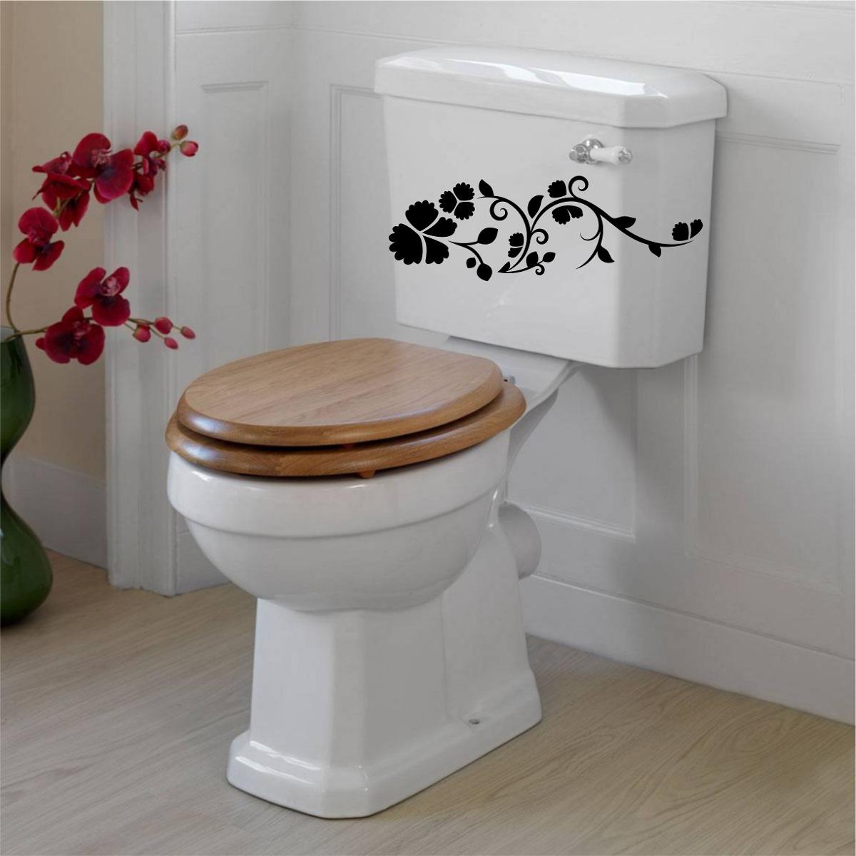Artesanato De Valença Bahia ~ Adesivo Banheiro Vidro Vaso Sanitário Caixa Tampa Floral