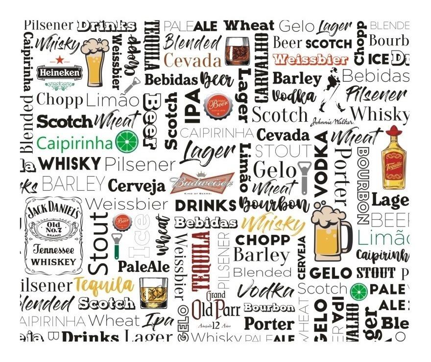 Adesivo Bar Painel 2m² Bebidas Papel De Parede Adega Barzinho Cerveja Frases M140