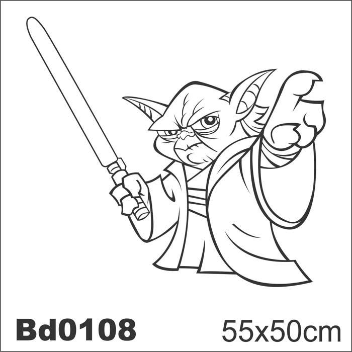 adesivo bd0108 mestre yoda star wars decoração parede  r