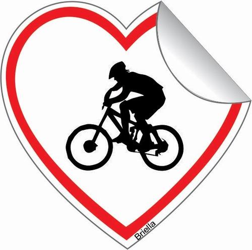adesivo bicicleta bike carro coração casal de bike 5 x 5 cm