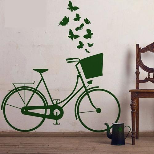 adesivo bicicleta com borboletas ouro
