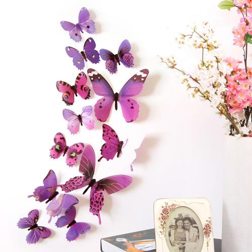 adesivo borboleta 3d cores pvc  decoração parede festa
