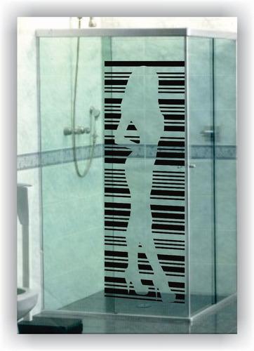adesivo box 1,75 metro banheiro vidro mulher código de barra