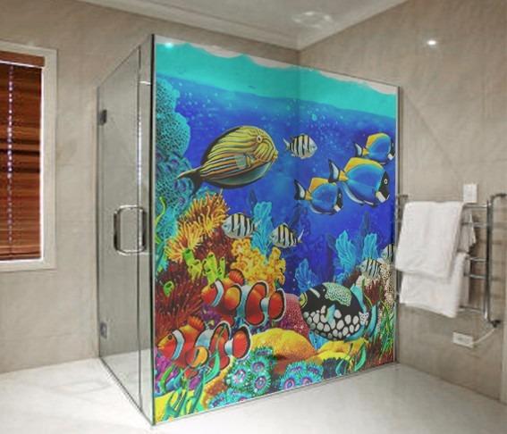 Adesivo Box Banheiro Decoração M2  R$ 44,00 em Mercado Livre -> Decoracao Banheiro Adesivos