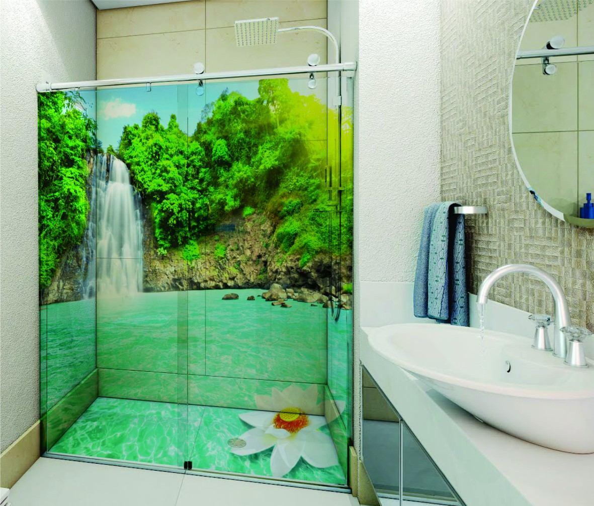 Imagens Porta Banheiro Feminino : Adesivo box banheiro transparente mar praia agua