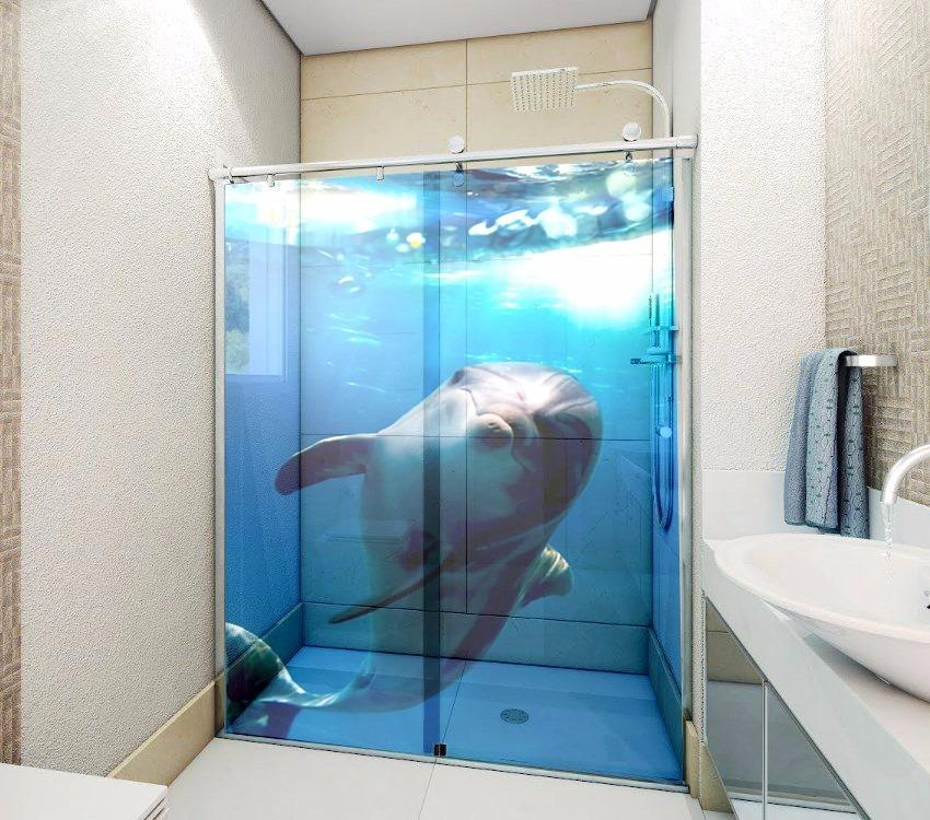 Adesivo Box De Banheiro 2 Folhas Porta De Vidro Frete Grátis  R$ 129,90 em M -> Porta Para Banheiro Pequeno Mercado Livre