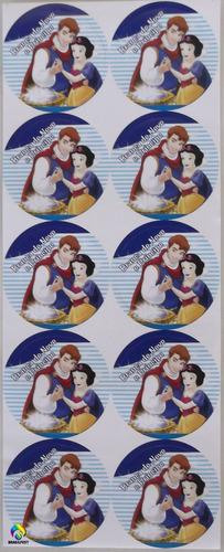 adesivo branca de neve e príncipe (30 adesivos)