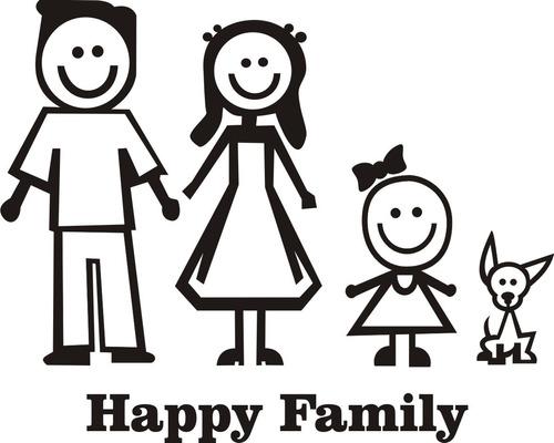 adesivo carro família feliz com bebê  recorte frete grátis