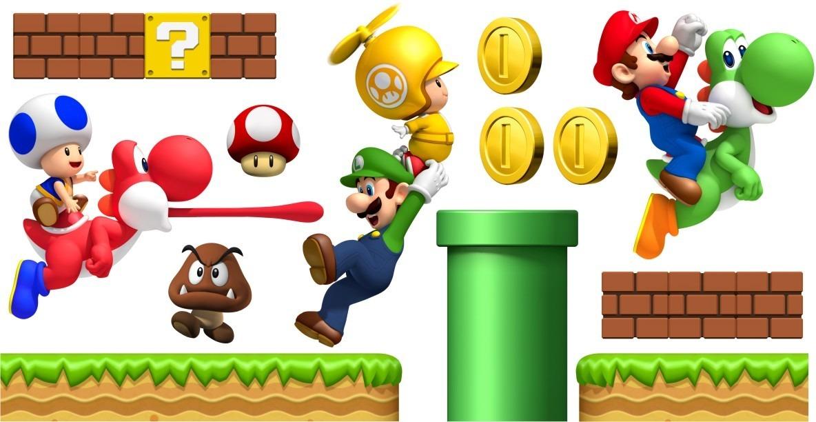 Adesivo De Parede Mario Kart ~ Adesivo Cenário Super Mario Bros Decoraç u00e3o Quarto Parede R$ 119,90 em Mercado Livre