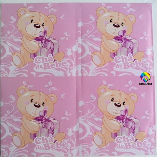adesivo chá bebê ursinho rosa quadrado 7x7cm (20 unidades)