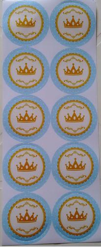 adesivo coroa azul (30 adesivos)