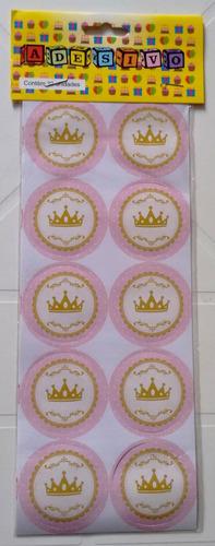adesivo coroa rosa (30 adesivos)