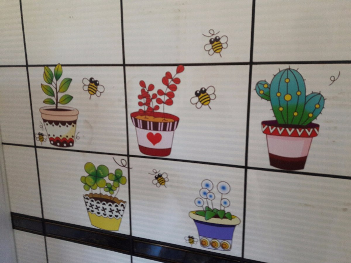 Adesivo Para Desentupir Vaso Sanitário Onde Comprar ~ Adesivo Cozinha Azulejo Box Banheiro Flor Abelhas Vaso R$ 29,90 em Mercado Livre