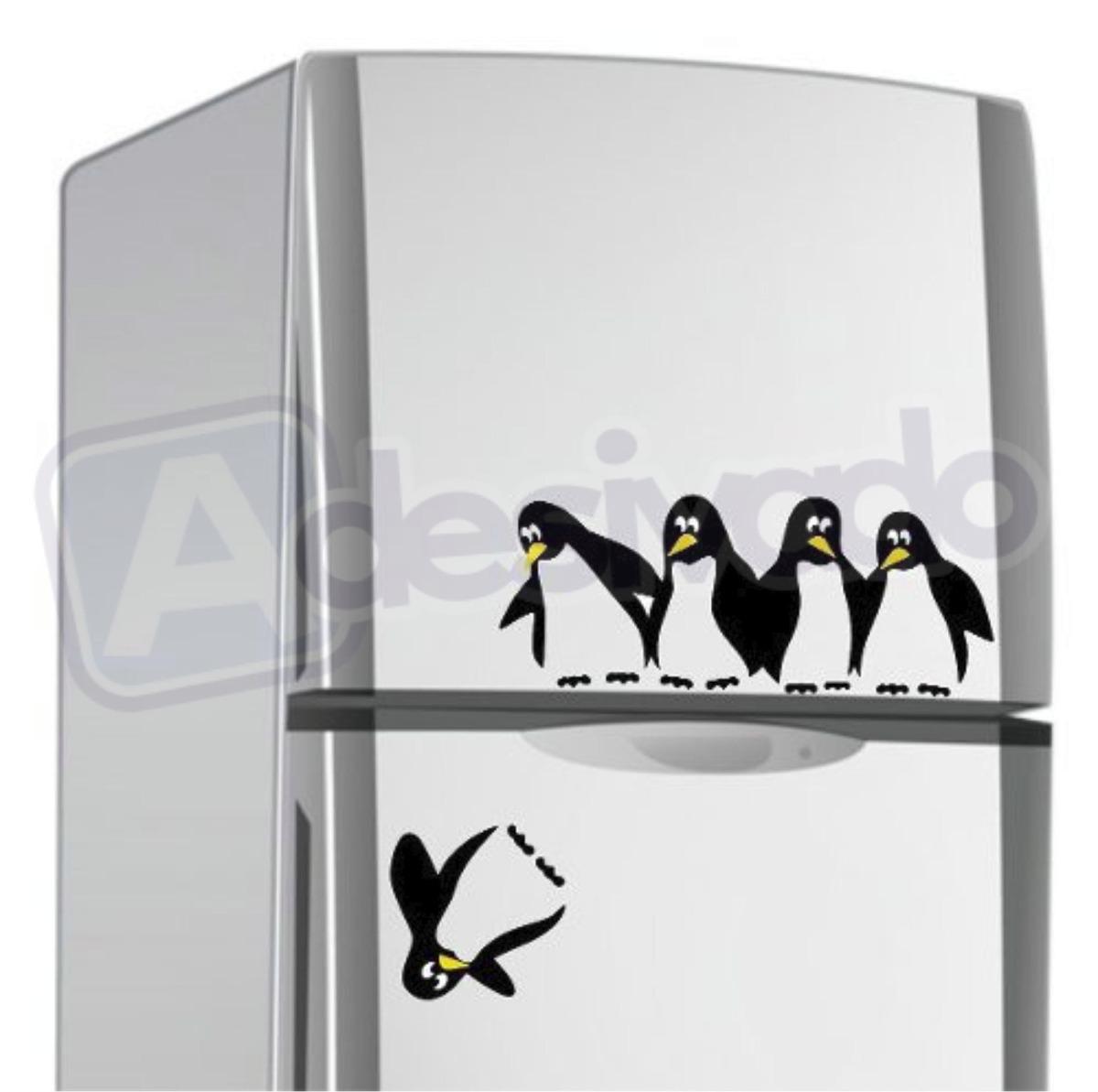 Aparador Em Mdf Com Gaveta ~ Adesivo Cozinha Decoraç u00e3o Pinguim Caindo Da Geladeira R
