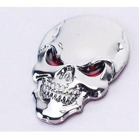 Adesivo Cranio Caveira Cromado 3d Top Linha Carro Moto Skull