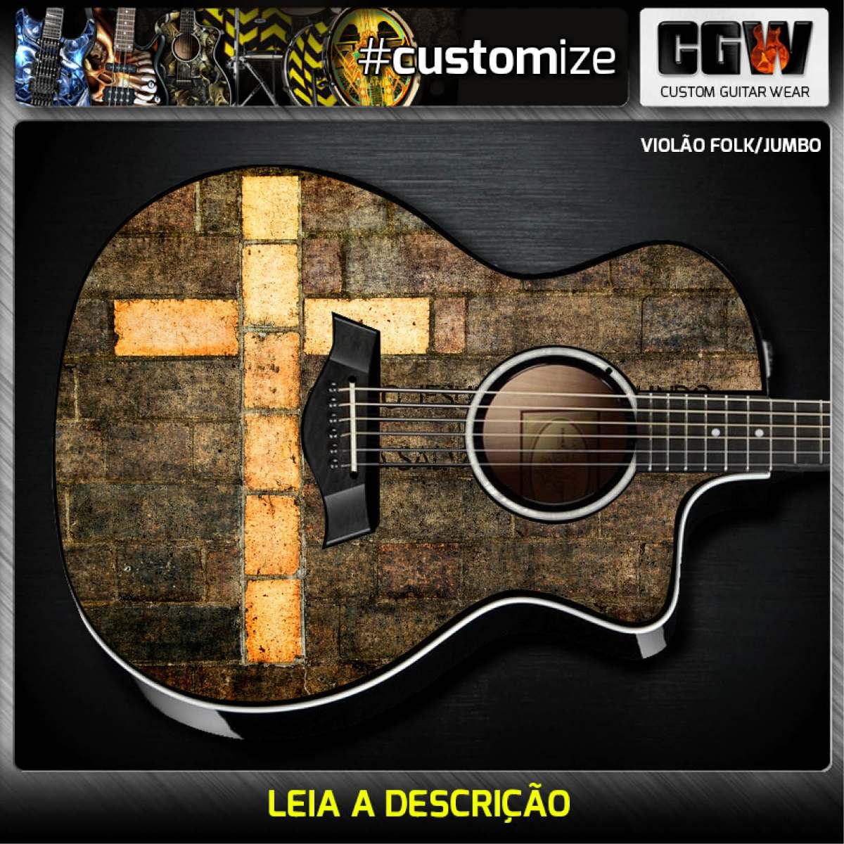 Artesanato Feltro Passo A Passo ~ Adesivo Cruz Cristao Evangelico Skin Guitarra Baixo Violao R$ 122,00 em Mercado Livre
