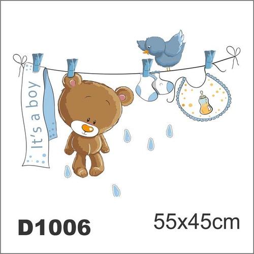 Adesivo D1006 Ursinho Bebe Quarto Decorativo Masculino R  ~ Adesivos De Parede Para Quarto De Bebe Ursinho