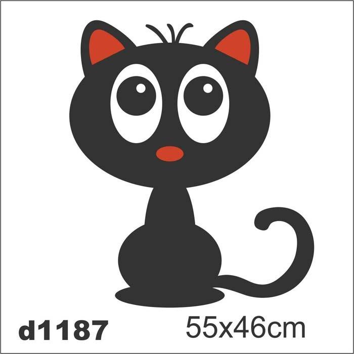 Aparador Para Hall ~ Adesivo D1187 Gato Preto Desenho Decorativo Intantil