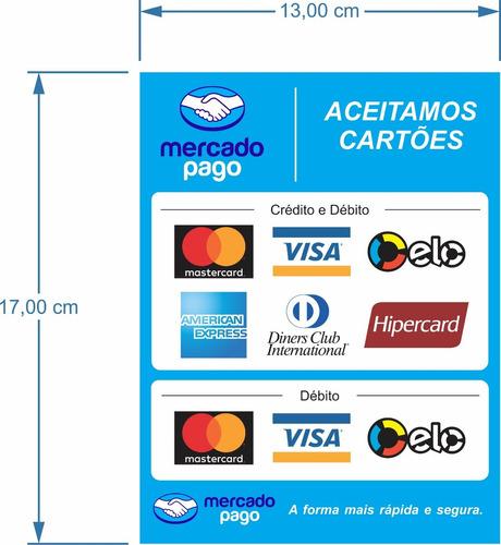 adesivo das bandeiras cartao mercado pago no mercado livre