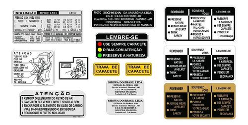 adesivo de advertência cb 450 - adesivos honda - cb 450