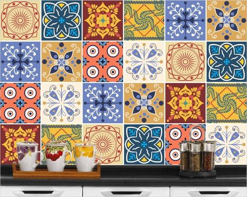 adesivo de azulejo portugues hidraulico 24un - 15x15 cm