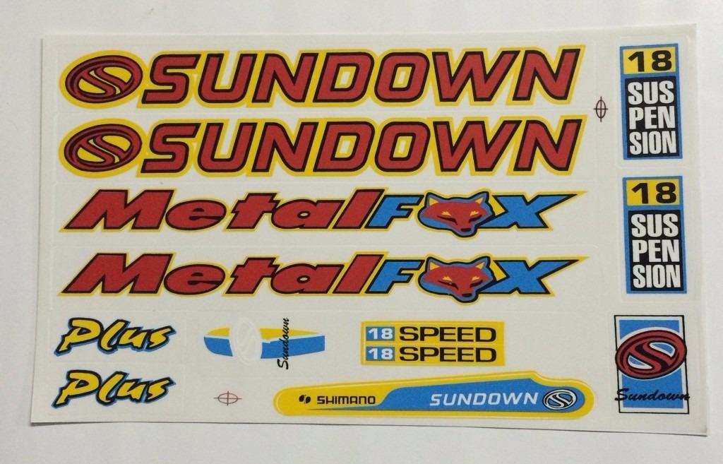 Aparador Area ~ Adesivo De Bicicleta Sundown Metal Fox Mtb R$ 9,90 em Mercado Livre