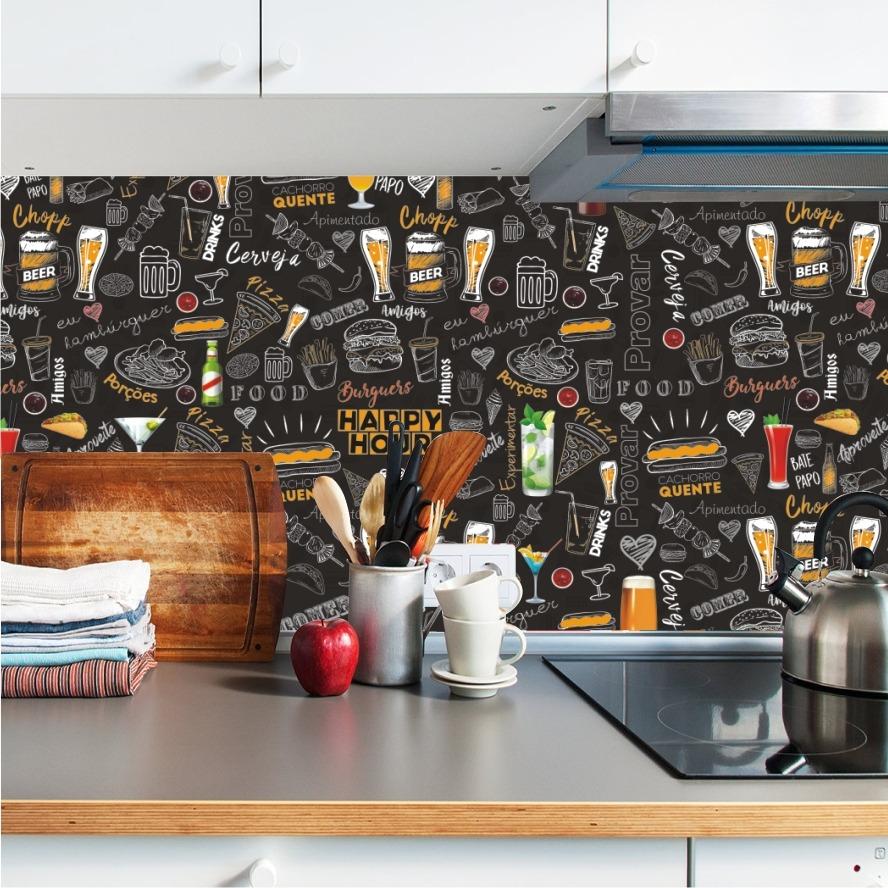Adesivo De Cozinha Lousa J Colorida Painel Bar Cerveja M134 R