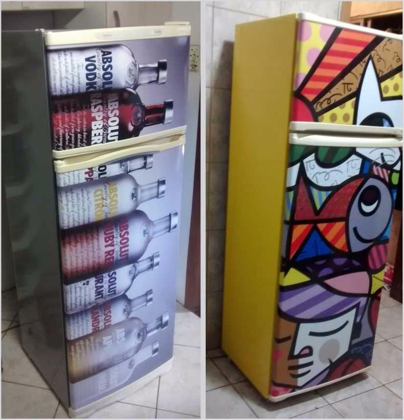 Vender Artesanato Nos Estados Unidos ~ Adesivo De Geladeira Com Artes E Lateral Em Cor R$ 167