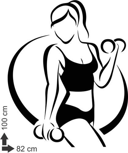 adesivo de parede academia mulher musculação fitness peso