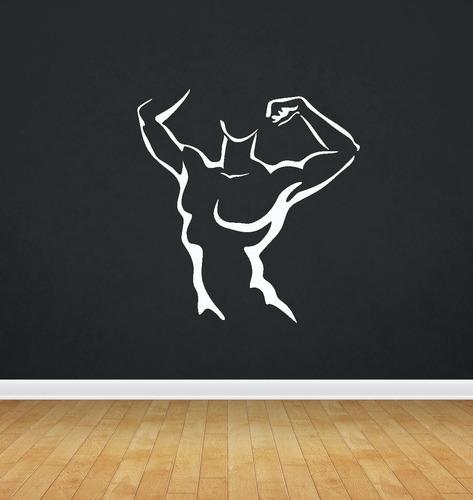 adesivo de parede academia musculação corpo fitness 100x95cm