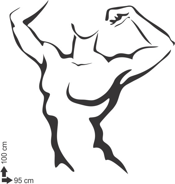 Adesivo De Parede Academia Musculacao Corpo Fitness 100x95cm R