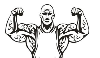 adesivo de parede academia musculação fisiculturista bíceps