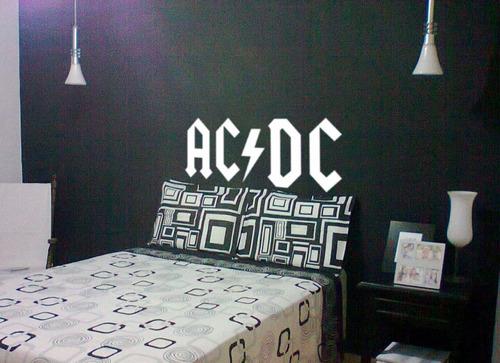 adesivo de parede ac/dc branco + brinde sala quarto wall