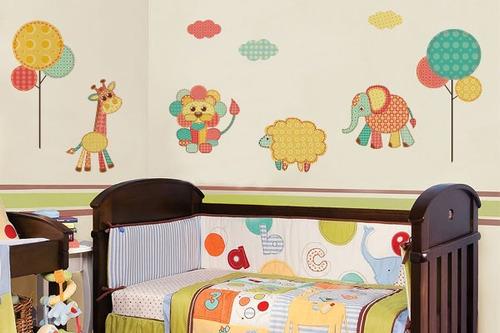 adesivo de parede animais de retalhos - mudo minha casa