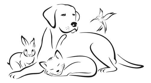 adesivo de parede animais gato cão veterinário 100x55 cm