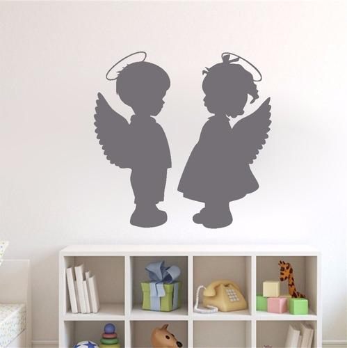 adesivo de parede anjo anjinhos menina menino guarda 50x52cm