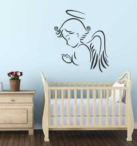 adesivo de parede anjo da guarda criança oração bebê 70x80cm