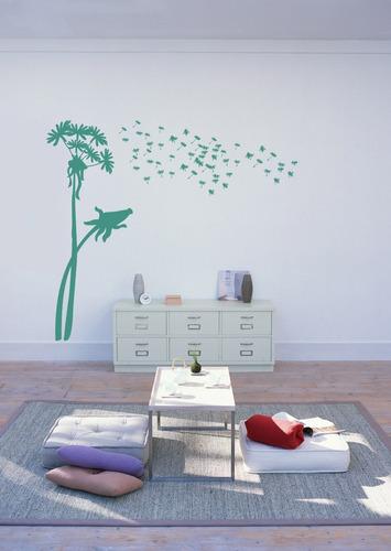 adesivo de parede arvore com folhas ao vento grande