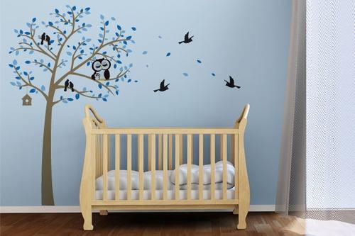 adesivo de parede árvore da coruja azul - mudo minha casa