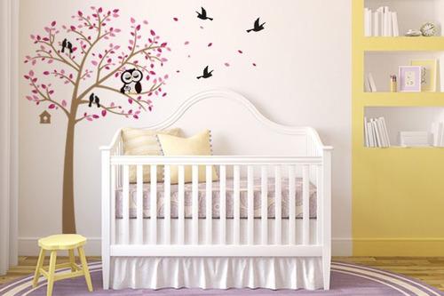 adesivo de parede árvore da coruja rosa - mudo minha casa