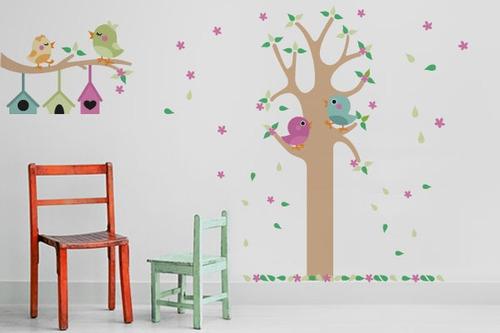 adesivo de parede árvore dos passarinhos - mudo minha casa