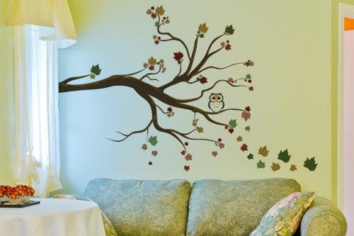 adesivo de parede árvore folhas secas - mudo minha casa