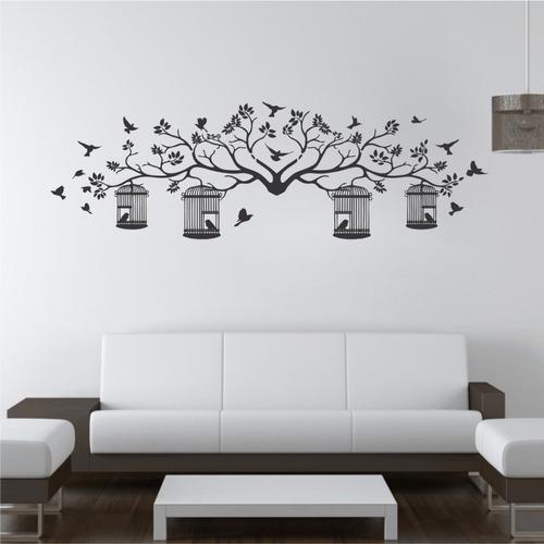 adesivo de parede árvore galhos florais pássaros 140cm d041