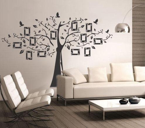 adesivo de parede árvore genealógica pássaros fotos retrato