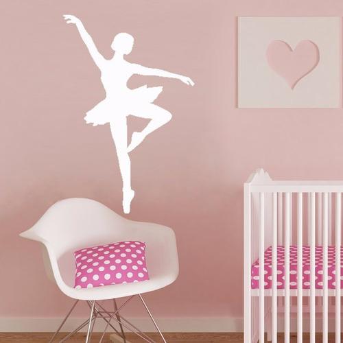 adesivo de parede bailarina balé dança menina quarto 100x65