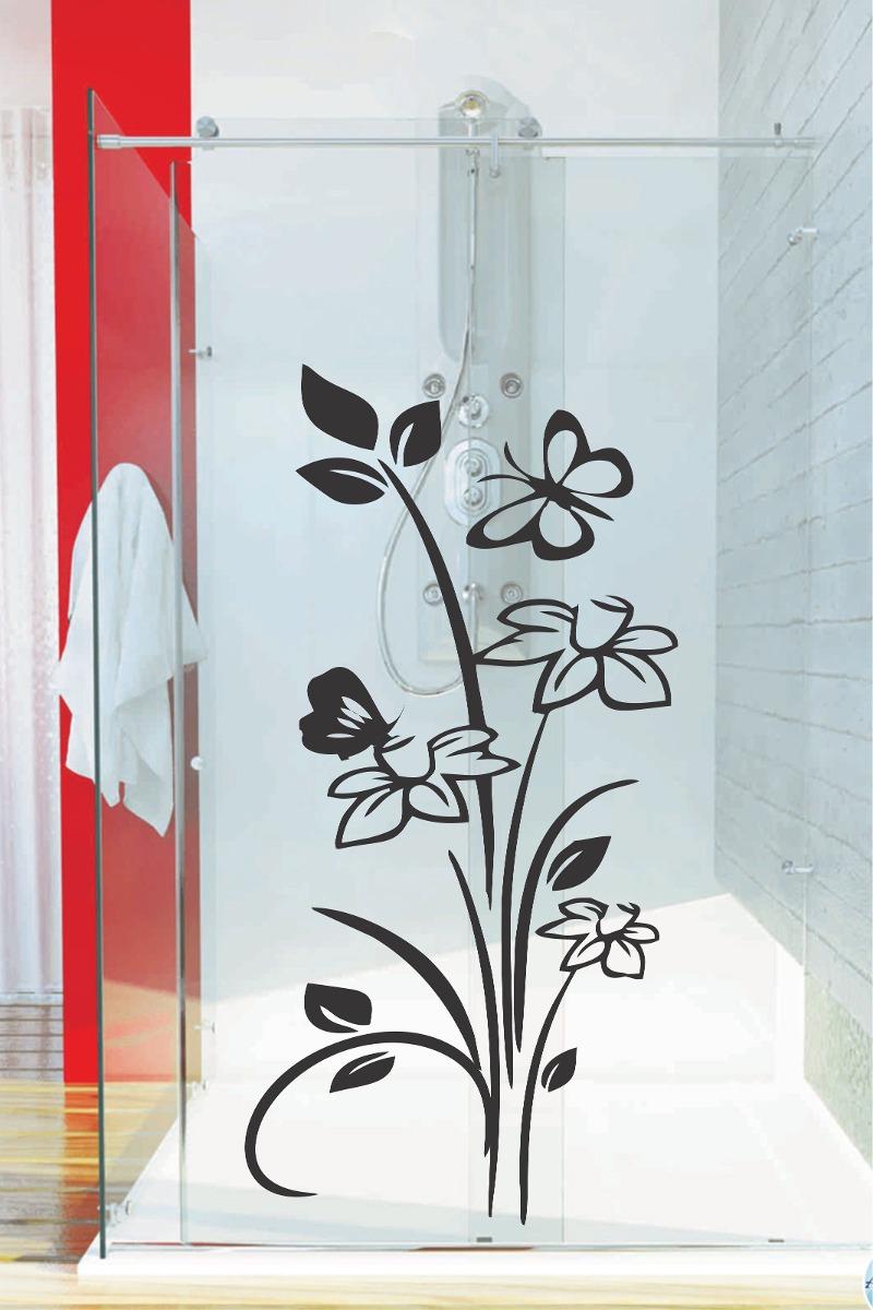 Aparador De Aliança Rommanel ~ Adesivo De Parede Banheiro Porta Box Vidro Floral
