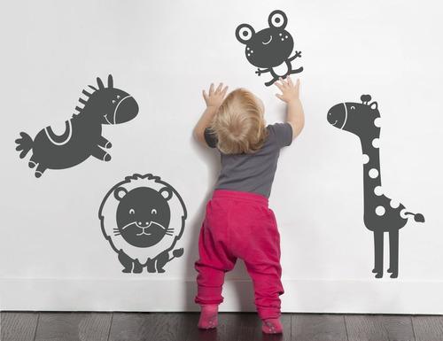 adesivo de parede bebê bichos girafa leão sapo cavalo